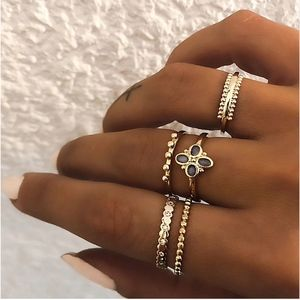 Quatrefoil Textured Bypass Gold Midi Rings 5Pc